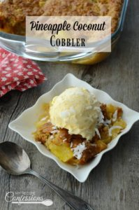 Pineapple Coconut Cobbler will satisfy all your tropical cravings! This recipe is easy and absolutely unforgettable!