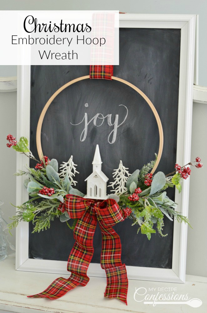Christmas Embroidery Hoop Wreath will look perfect on your front door! This wreath is super easy and very inexpensive. Some of the supplies were even bought at the Dollar Store. You won't find an easier DIY Christmas project! #Christmaswreath #diycrafts #Christmasdecorating #Christmastime #ChristmasEve #Christmas