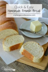 Quick and Easy Homemade French Bread tastes better than any bakery bread. This recipe produces a soft and chewy bread that is the perfect addition to any meal.